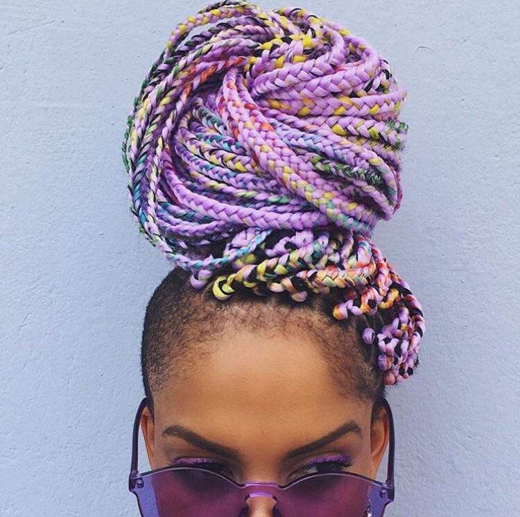 Maga Moura Rainbow Ombre Braids for London Fashion Week