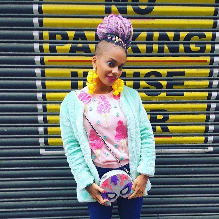 Maga Moura Rainbow Ombre Braids for London Fashion Week3